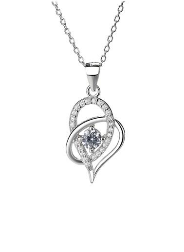 Enesstore Gümüş Zirkon Taşlı Çift Kalp Bayan Gümüş Kolye Beyaz